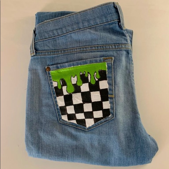 checkered slime hand painted on jeans